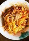 全てレンジ茹で中華麺でナポリタン風