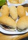 ミニコッペパンでヒレカツサンド(⌒‐⌒)