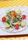 鯖の水煮と水菜のビーフンサラダ