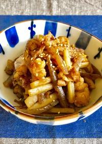 牛蒡こんにゃく・豚こまの甘辛炒め煮*副菜