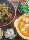 夕飯!レバーの野菜炒め スンドゥブ 献立