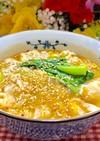 ワンタン青梗菜のピリ辛キムチスープ