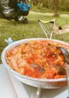 【キャンプ飯】鶏もも肉のトマトジュース煮