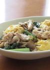 豚バラ肉と小松菜と舞茸の卵炒め