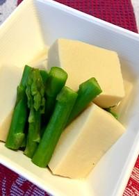 *高野豆腐とアスパラガスの含め煮*