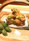 丹波黒枝豆と海老と舞茸のかき揚げ