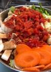 残ったハンバーグ種でうまうまトマト鍋