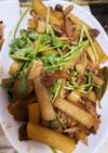 豚肉と大根の甘黒酢炒め(パクチー載せ)
