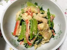鶏むね肉と小松菜カニカマの胡麻マヨ和え
