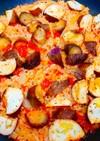 【フライパン】茄子のトマト炊き込みご飯