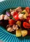 ナスと鶏肉のトマトバジル炒め