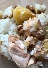 納豆と秋鮭、じゃがいものご飯