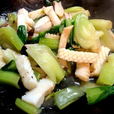イカとチンゲン菜(小松菜)の中華炒め