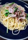ベーコンと舞茸と水菜の簡単和風パスタ♪