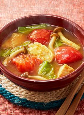 サラダチキンのカレースープ