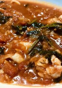 モモ肉とほうれん草のトマトスープ