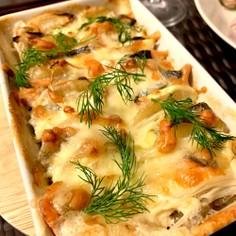 鮭、ジャガイモ、チーズのオーブン焼き