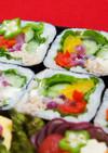 自家製鯖の水煮で「カラフルサラダ巻き」