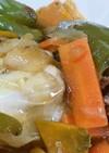 ピーマンの肉詰めをカレースープで