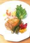 マリネ鶏グリル野菜のウォーターオーブン焼