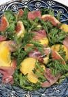 いちじく、柿、春菊と生ハムのサラダ