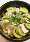 アボカド レンジ蒸し鶏 サラダ