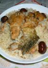 焼き鮭と焼き栗の炊き込みご飯でカフェ丼