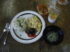 夏野菜の肉そぼろ味噌のせ