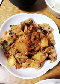豚バラとなすの味噌キムチ炒め