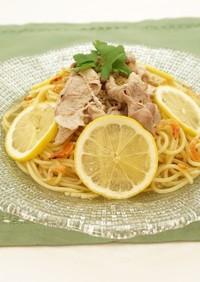 豚肉とレモンの冷製スープパスタ