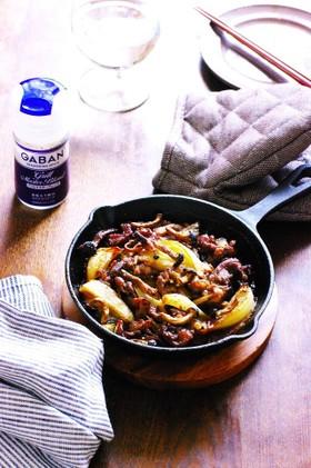 ラム肉と玉ねぎとしめじのグリル焼き