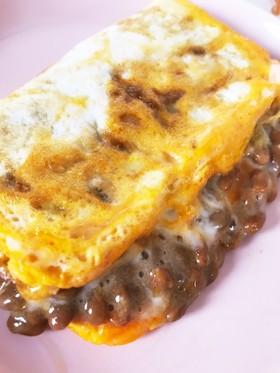糖質制限中も!巻かない納豆チーズオムレツ