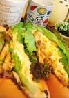 カレー鶏むね肉、卵マヨネーズパン