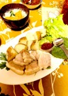 塩豚の葉包と同時に簡単ゆで芋と大根スープ