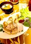 塩豚ポッサムと簡単ゆで芋と大根スープ