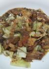 鯖味噌煮缶詰と、キャベツの簡単炒め