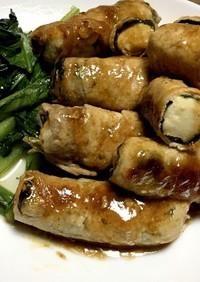 揚げ出し豆腐の豚しそ巻き