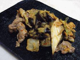 豚と茄子のキムチマヨネーズ炒め