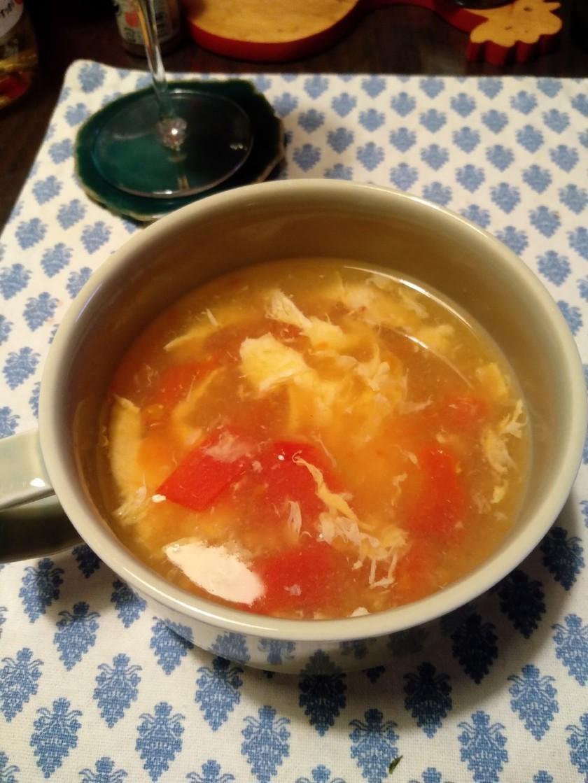 トマトと卵の中華風スープ