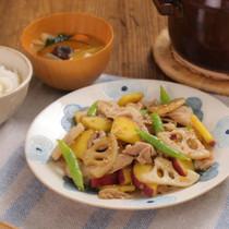 豚肉と根菜の甘辛きんぴら炒め