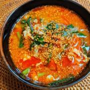 豚ひき肉とニラの坦々春雨スープの写真
