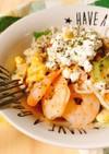 カッテージチーズ入りエスニック海鮮サラダ