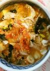 残った味噌汁とシラタキで、韓国温麺