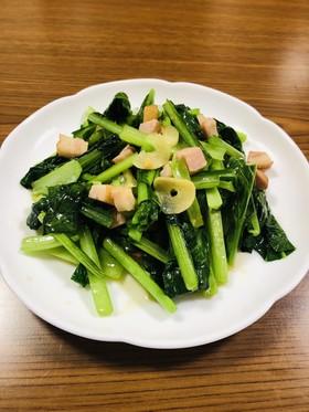 簡単!小松菜とベーコンのニンニク風味炒め