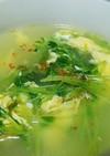 豆苗と卵の中華スープ