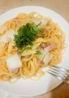 白菜とベーコンのシンプル和風パスタ