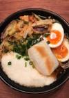 茹で卵の天ぷら、とろろ、おもち入りお蕎麦