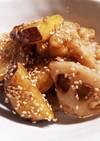 作りおき 蓮根と薩摩芋の甘酢味噌炒め