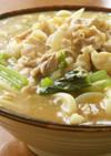 豚バラ肉と小松菜とふんわり卵の煮込うどん
