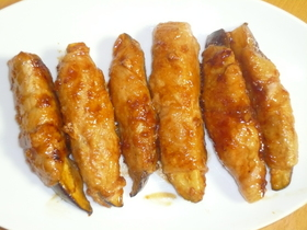 甘辛茄子の豚肉巻き